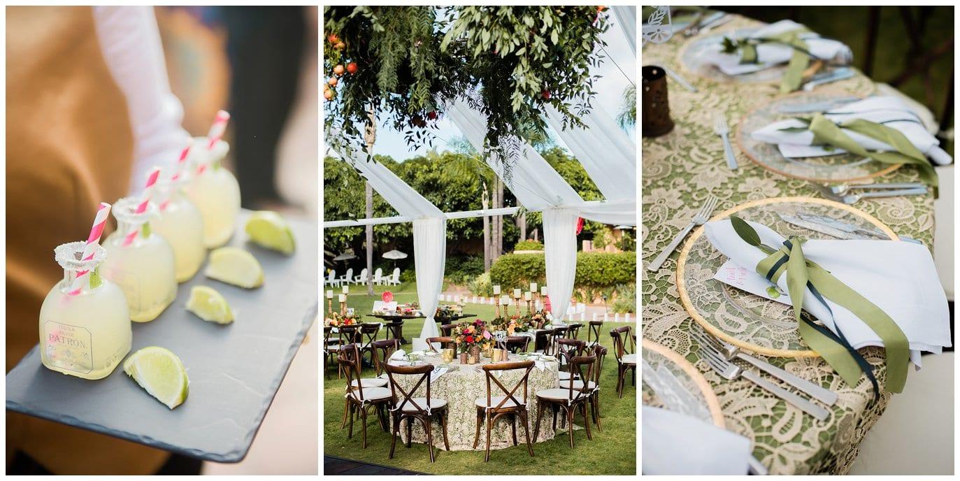 individual margaritas Rancho Valencia wedding recpetion photo
