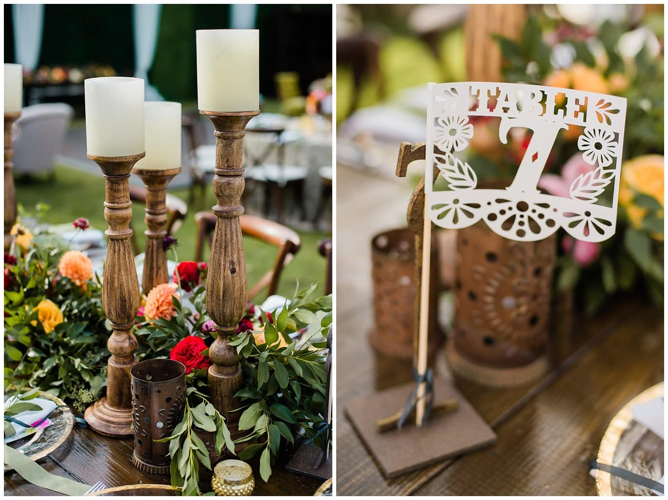 wooden candle holders and mexican decorative flag table numbers photo