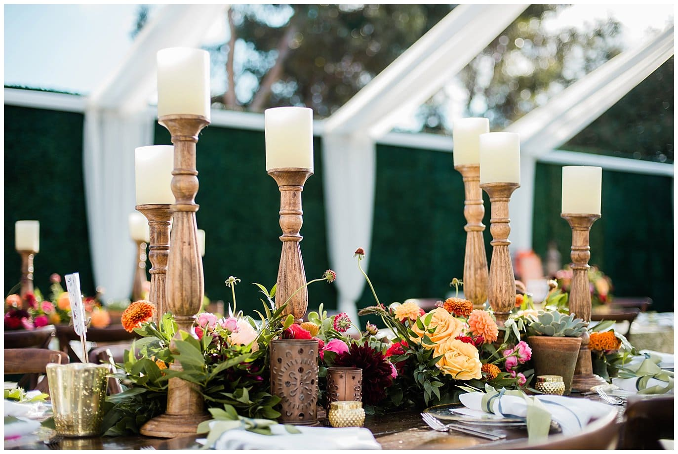 gold candle holders and tin wedding recpeption decor photo