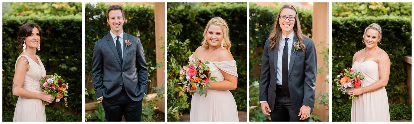 colorful southern california wedding party photo