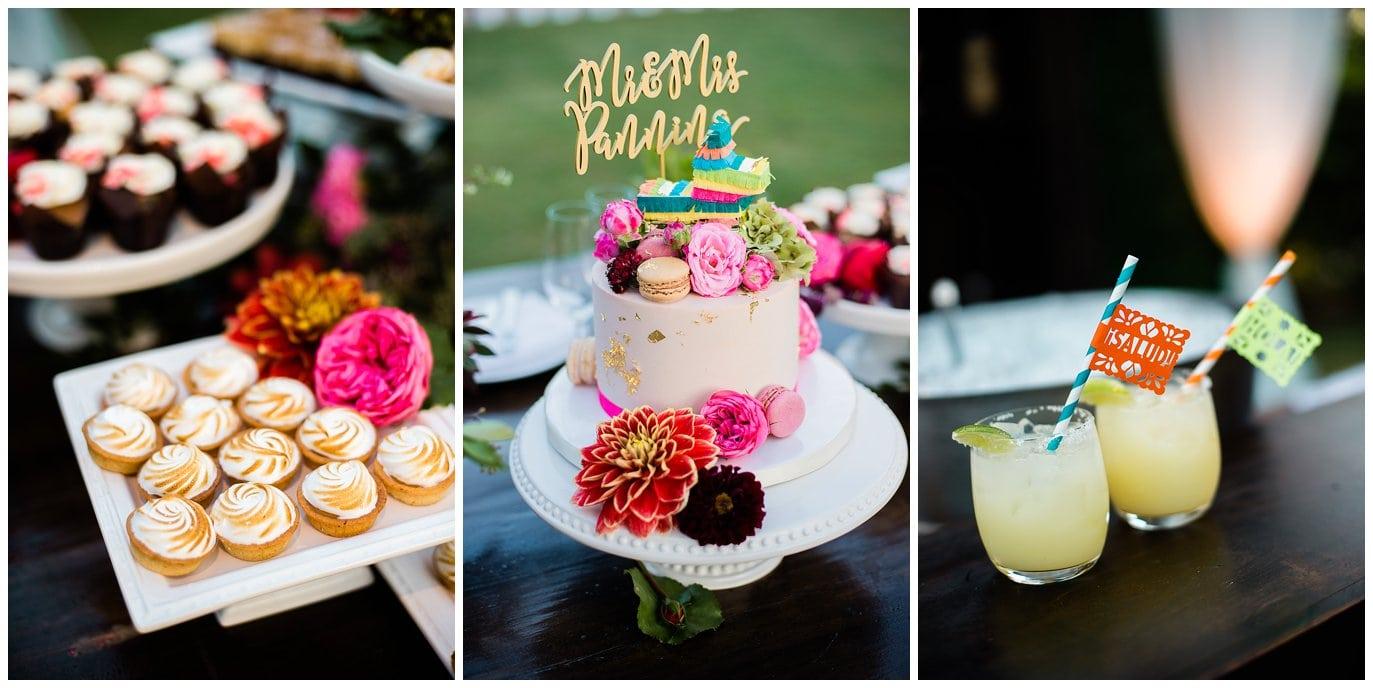colorful wedding cake and margaritas photo