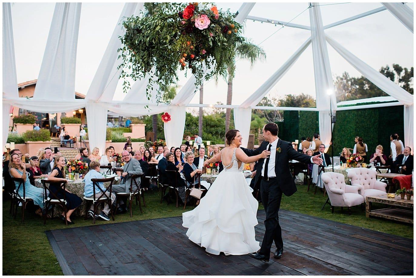first dance rancho valencia wedding reception photo