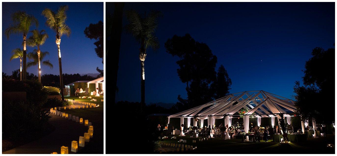 Rancho Valencia wedding reception tent with luminaries photo