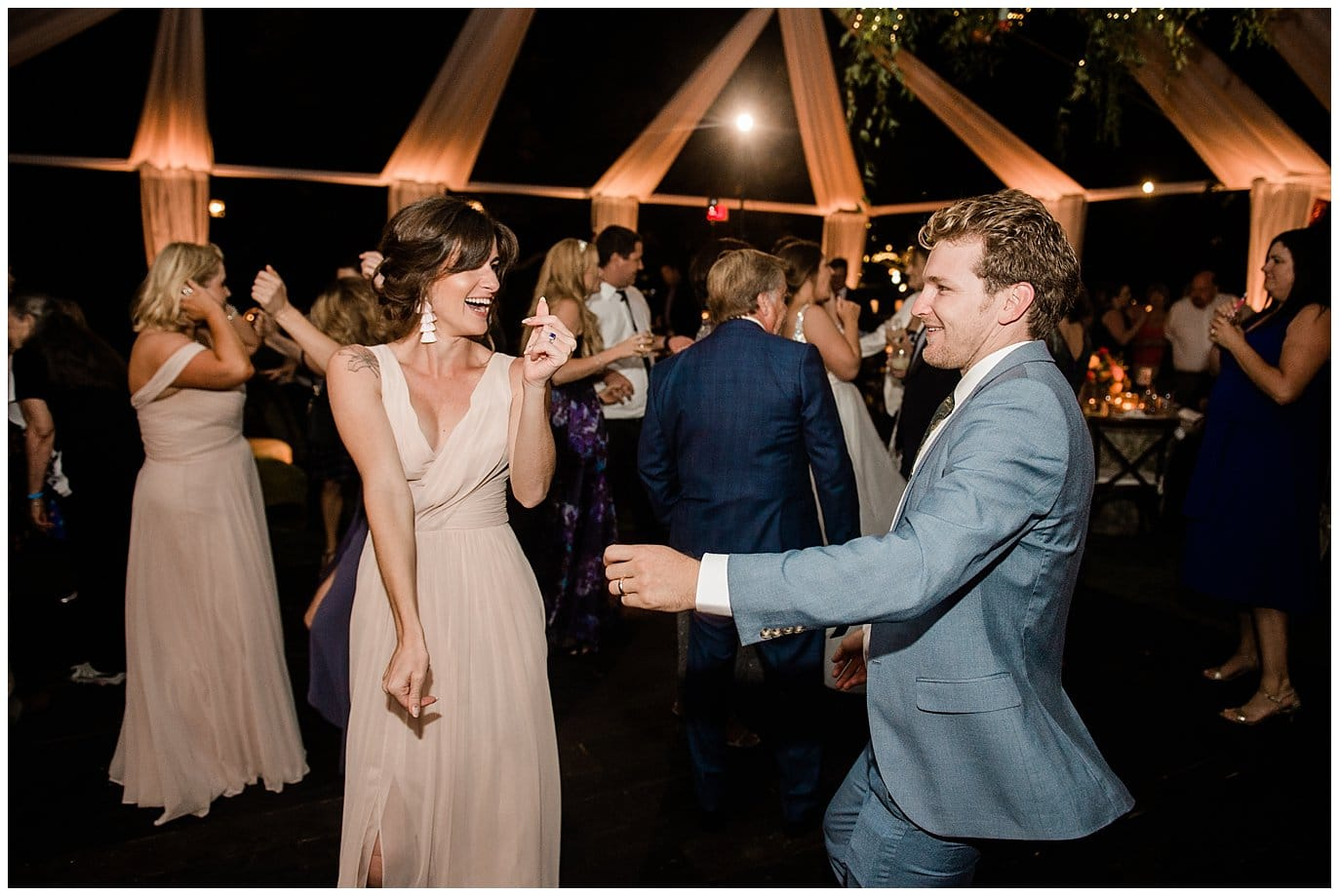 open air wedding reception dancing photo