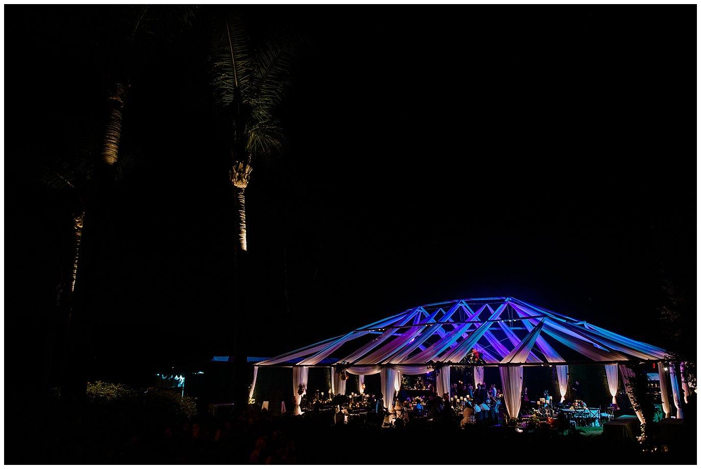 open air rancho valencia wedding reception tent photo