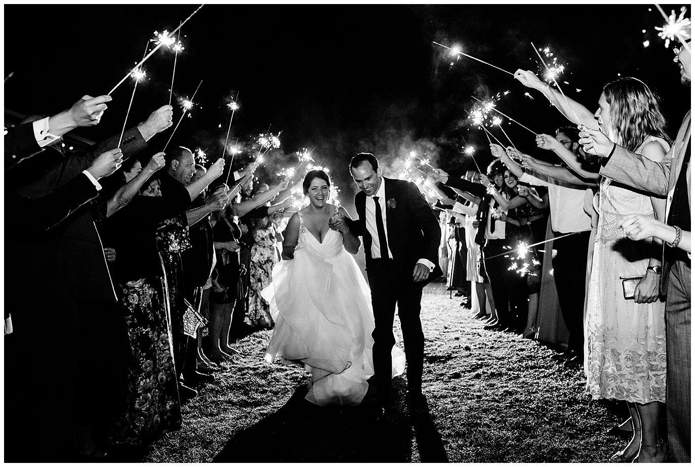 Rancho Valencia Sparkler Exit wedding photo
