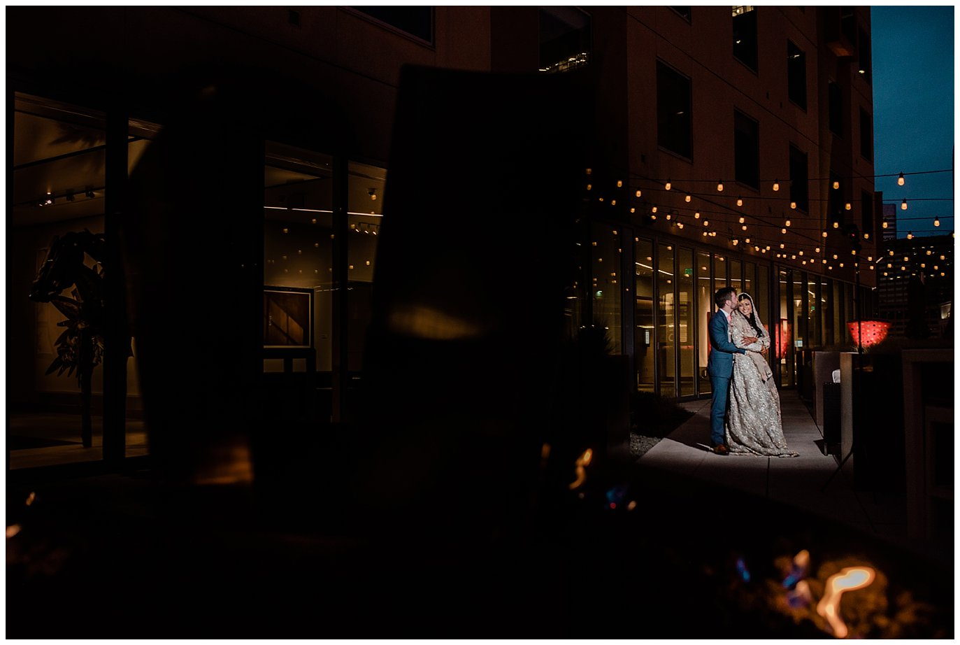 bride and groom at The Art Hotel in Denver wedding photo