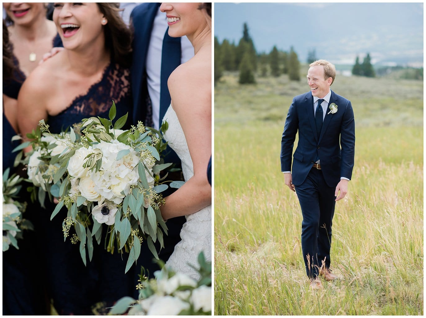 laughing groom in navy suit at Arapahoe Basin Black Mountain Lodge Wedding by Denver Wedding Photographer Jennie Crate