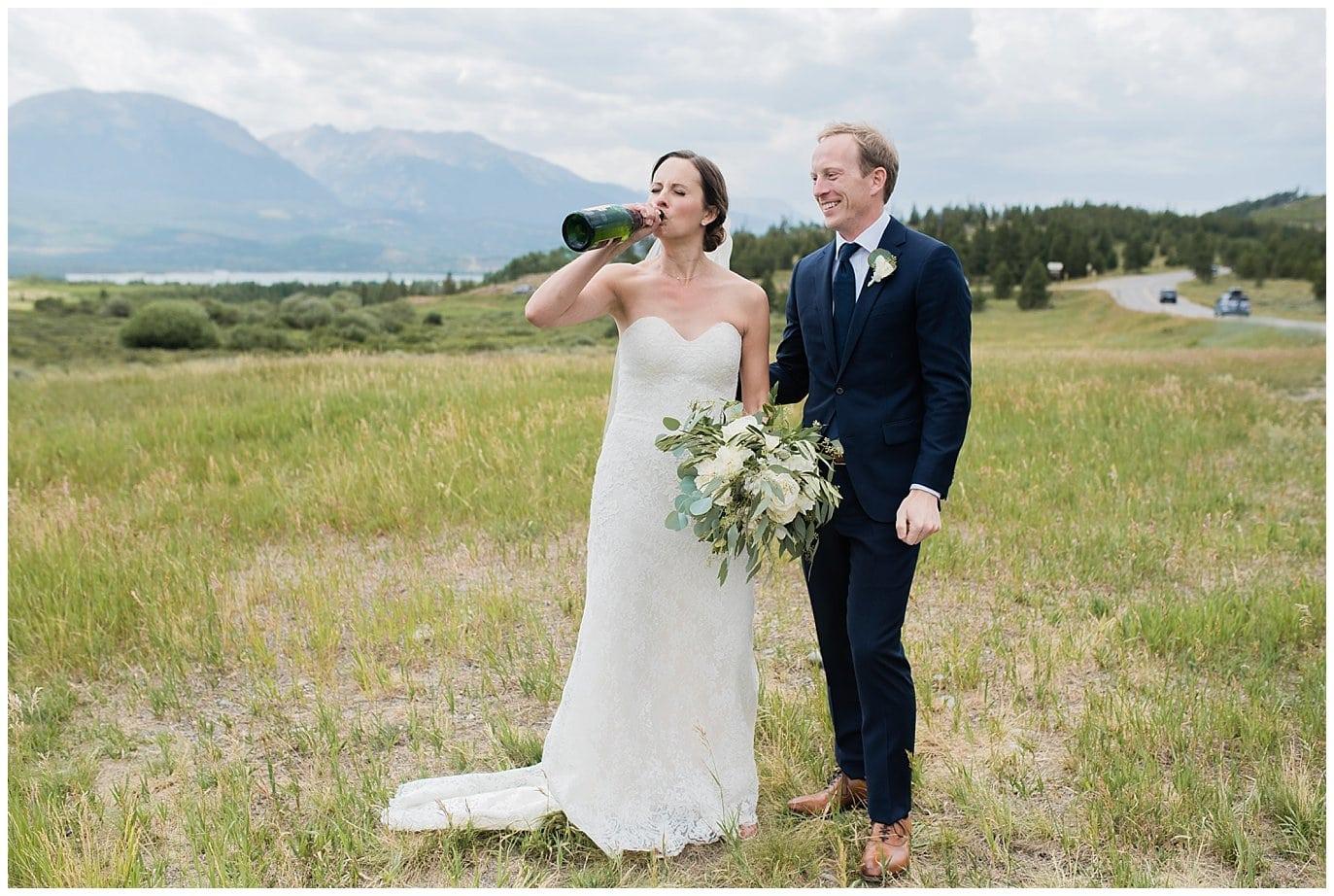 celebratory champagne before wedding ceremony at Arapahoe Basin Black Mountain Lodge Wedding by Dillon Wedding Photographer Jennie Crate