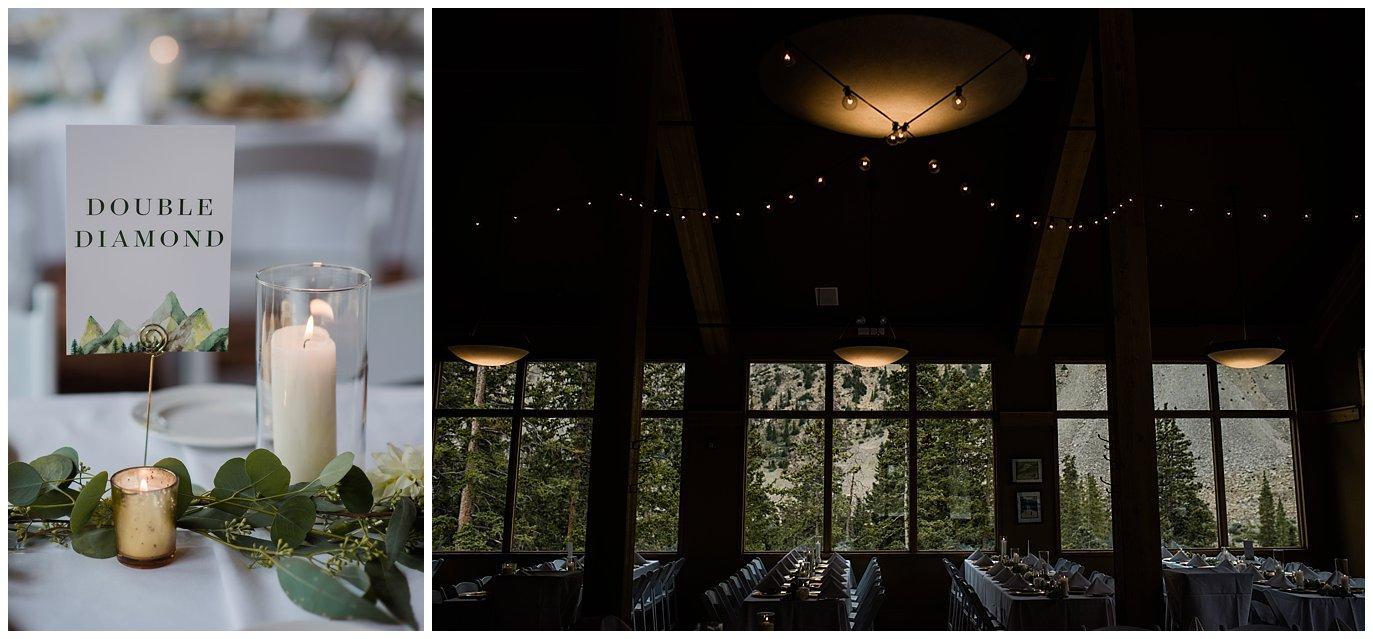 decor at Arapahoe Basin Black Mountain Lodge Wedding by Dillon Wedding Photographer Jennie Crate