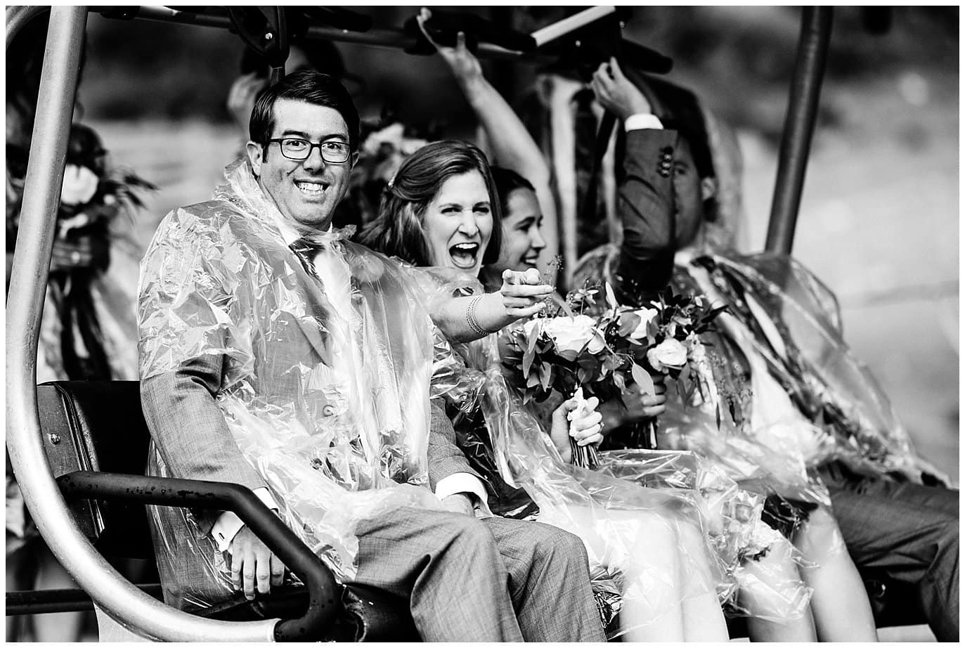 wedding party boarding chair lift to top of Arapahoe Basin at Arapahoe Basin Black Mountain Lodge Wedding by Arapahoe Basin Wedding Photographer Jennie Crate