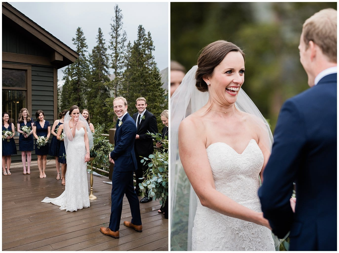 beautiful ceremony in the rain at Arapahoe Basin Black Mountain Lodge Wedding by Silverthorne Wedding Photographer Jennie Crate