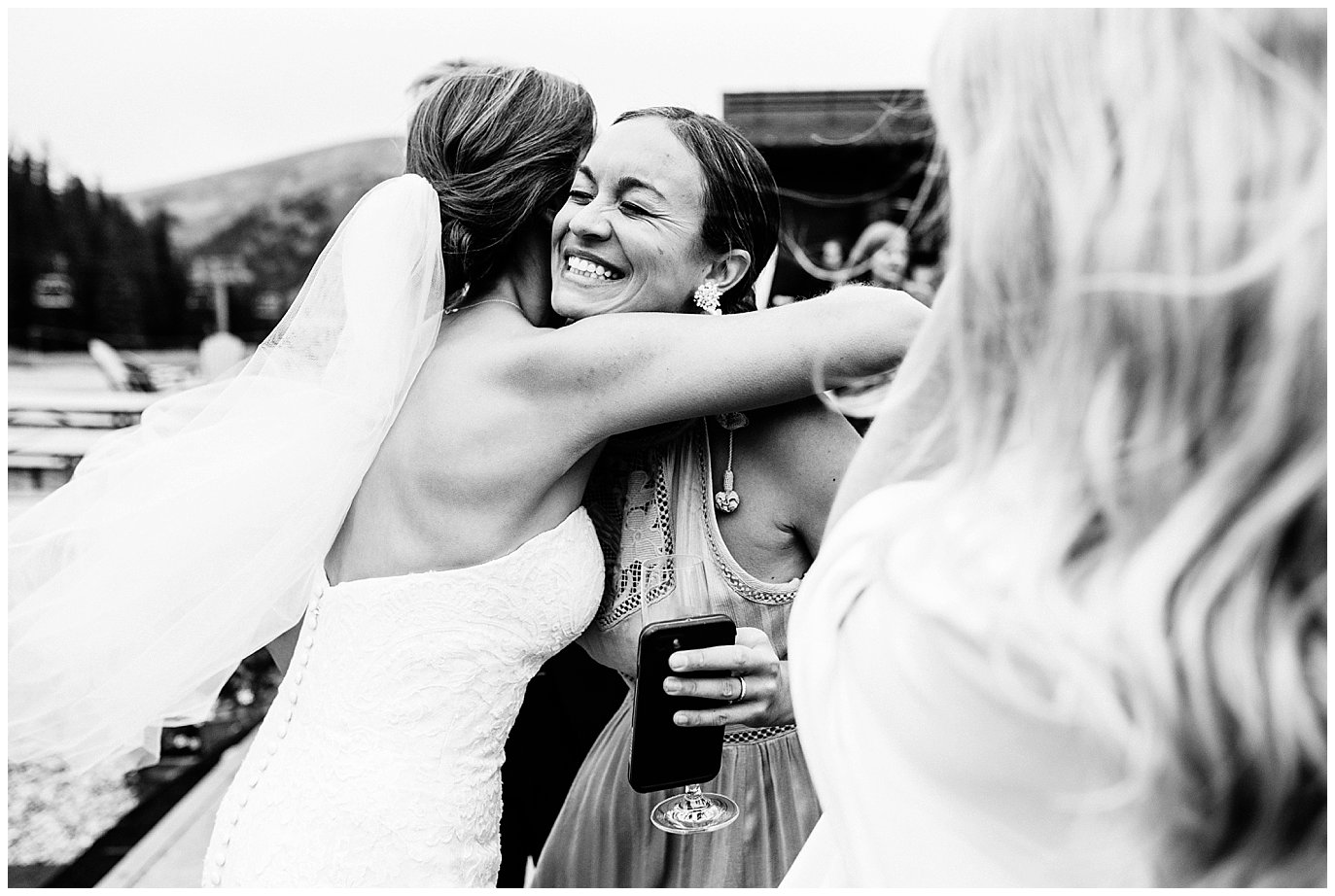excitement after ceremony at Arapahoe Basin Black Mountain Lodge Wedding by Colorado Wedding Photographer Jennie Crate