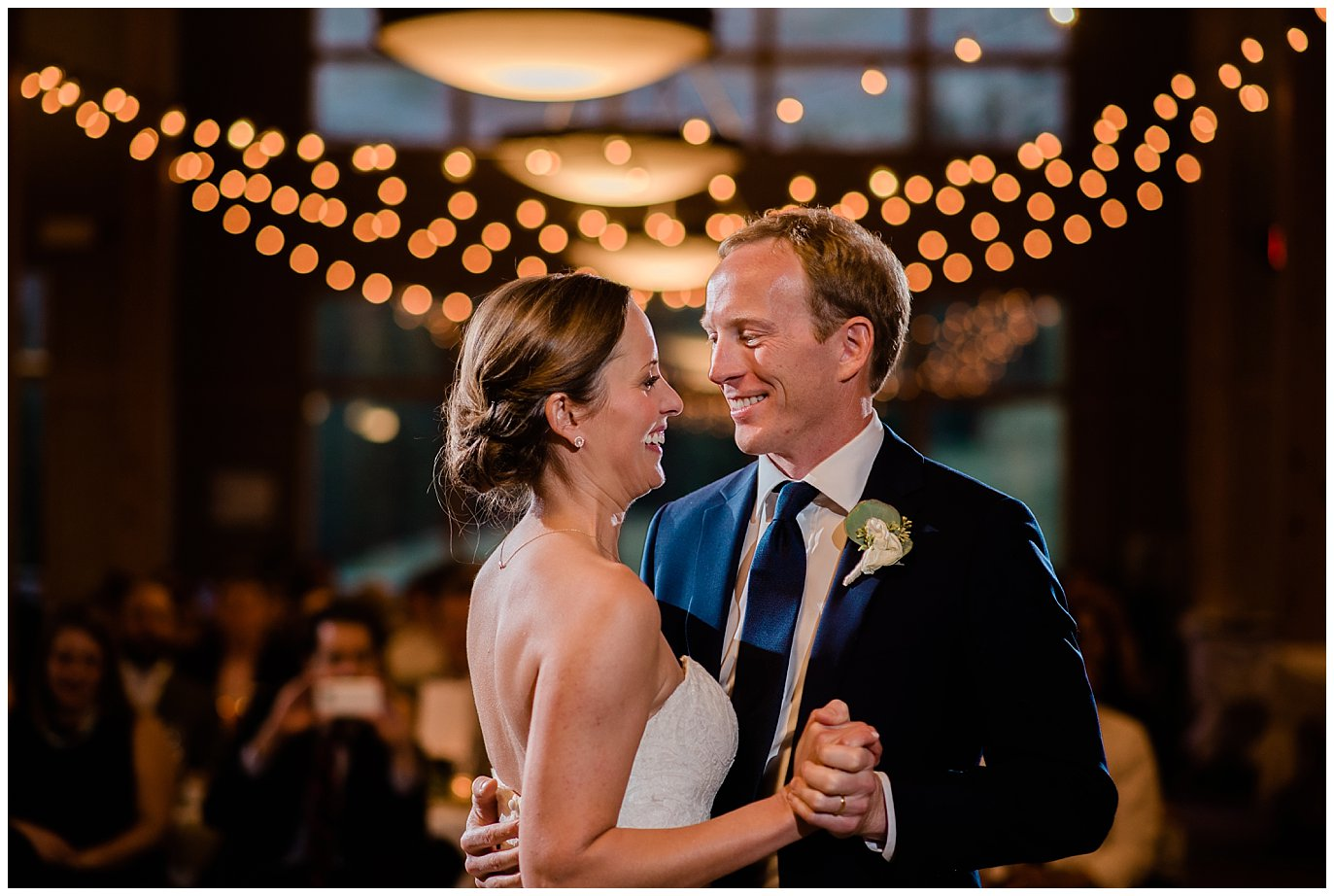 First dance at Arapahoe Basin Black Mountain Lodge Wedding by Dillon Wedding Photographer Jennie Crate