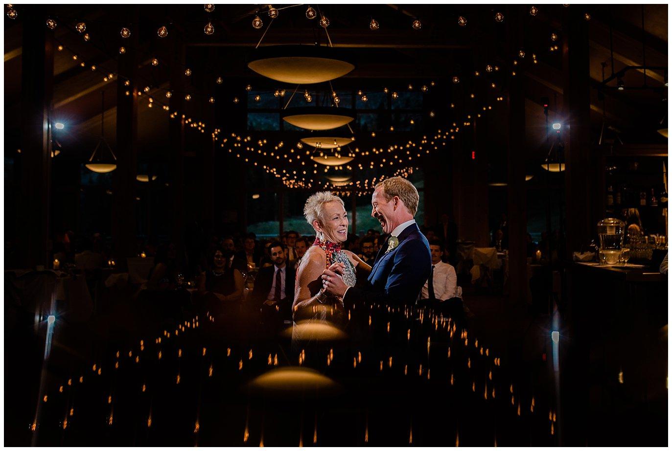creative mother son dance at Arapahoe Basin Black Mountain Lodge Wedding by Denver Wedding Photographer Jennie Crate