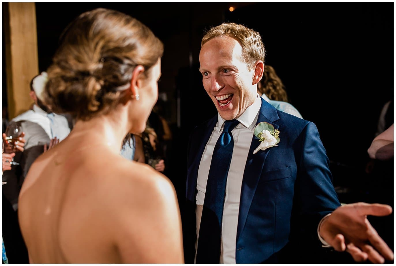 groom and bride dancing at Arapahoe Basin Black Mountain Lodge Wedding by Arapahoe Basin Wedding Photographer Jennie Crate
