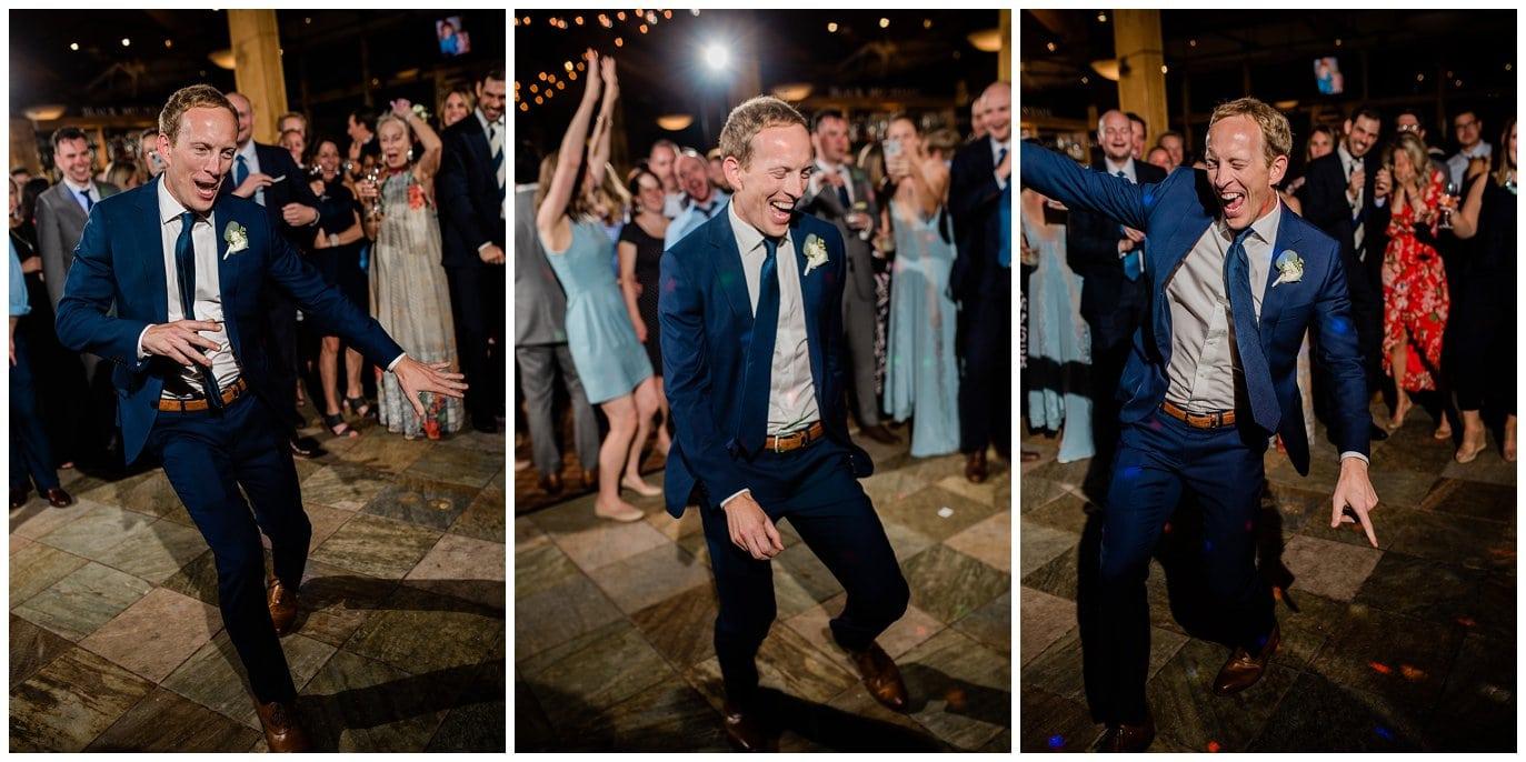 groom dancing at Arapahoe Basin Black Mountain Lodge Wedding by Colorado Wedding Photographer Jennie Crate
