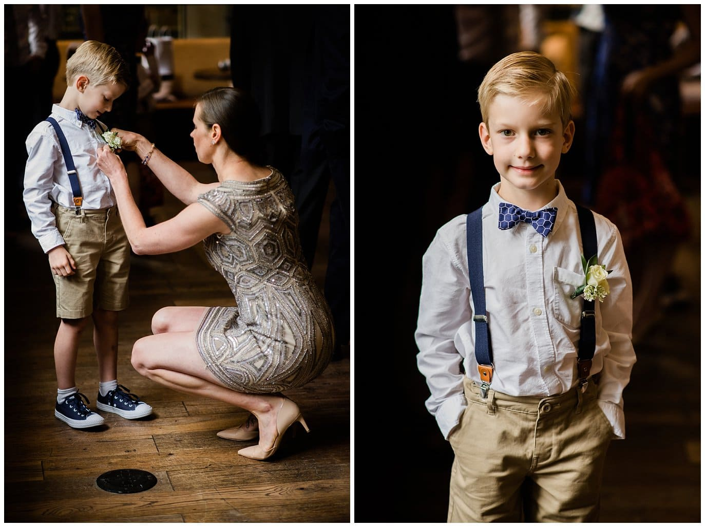Ring barer in blue bow tie and suspenders photo