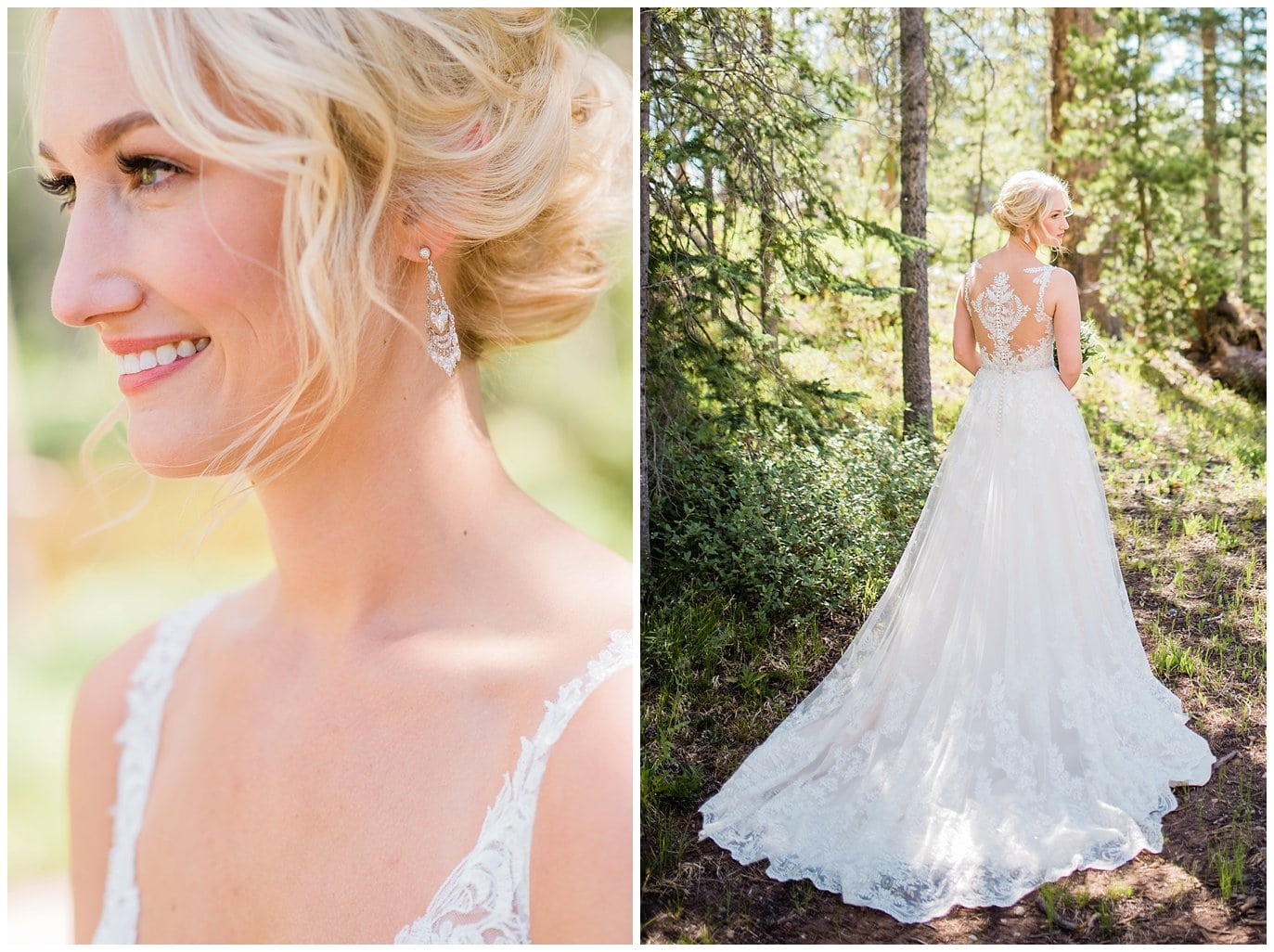 bride in lace dress with see through back and sparkly earrings at Piney River Ranch wedding by Beaver wedding photographer Jennie Crate, Photographer