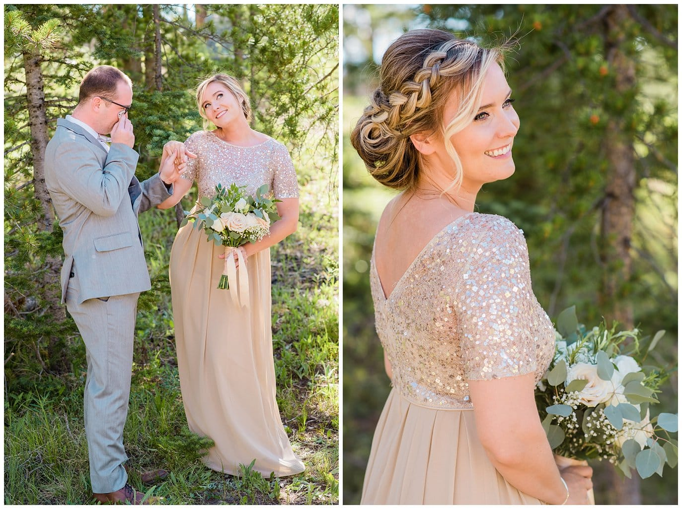 sparkly top and nude skirt bridesmaid dress at Summer Piney River Ranch wedding by Vail wedding photographer Jennie Crate, Photographer