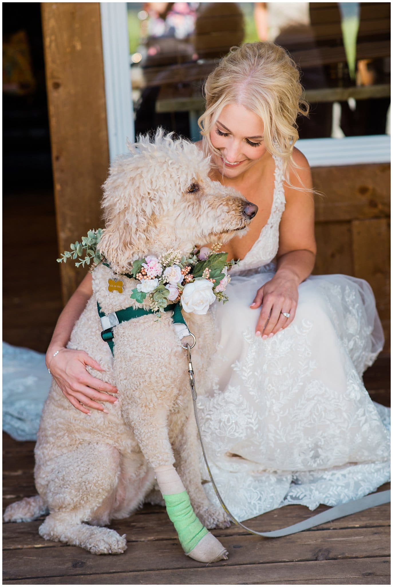 Bride and flower dog at Summer Piney River Ranch wedding by Vail wedding photographer Jennie Crate, Photographer