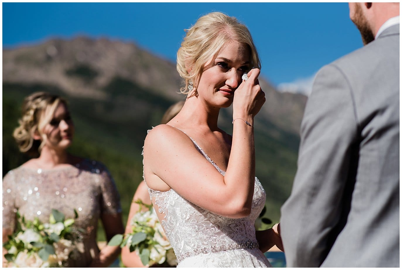 emotional bride during vows at Piney River Ranch wedding by Beaver Creek wedding photographer Jennie Crate, Photographer