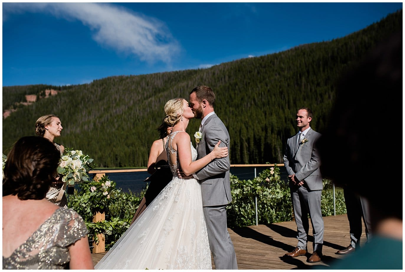 first kiss at Piney River Ranch wedding by Beaver Creek wedding photographer Jennie Crate, Photographer