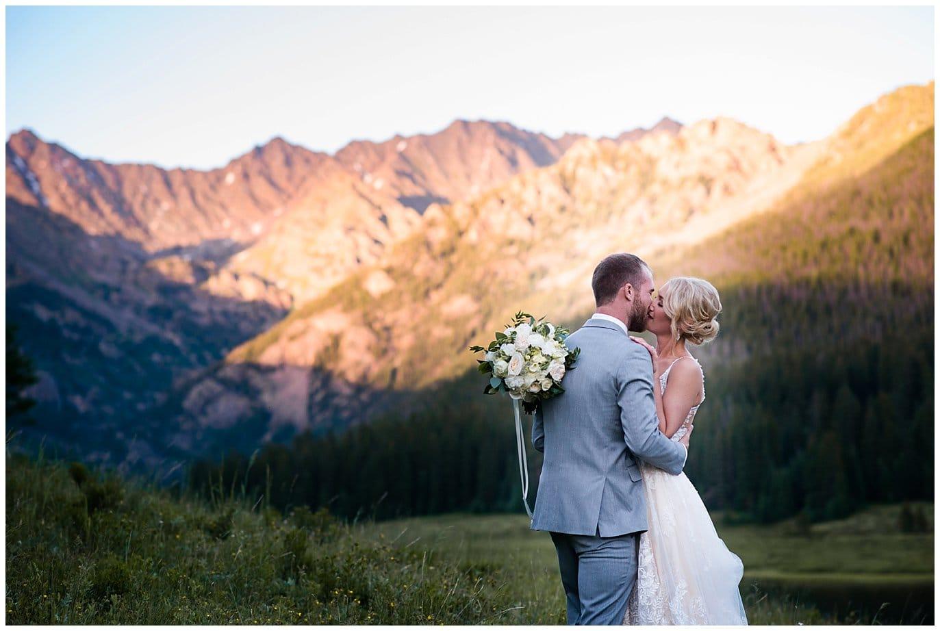 romantic sunset photo at Piney River Ranch wedding by Beaver Creek wedding photographer Jennie Crate, Photographer