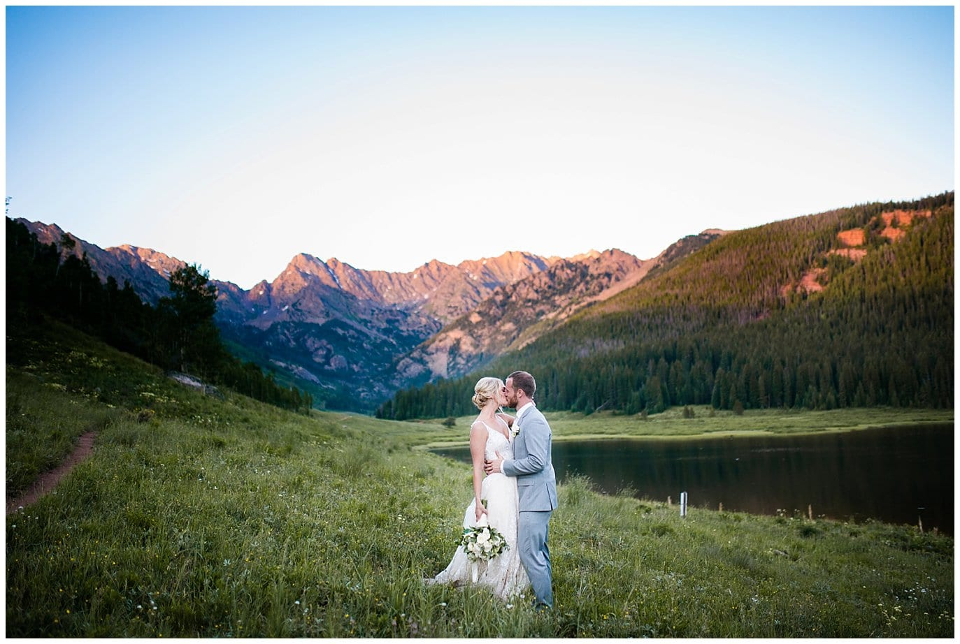 sunset photos by lake at Piney River Ranch wedding by Beaver Creek wedding photographer Jennie Crate, Photographer
