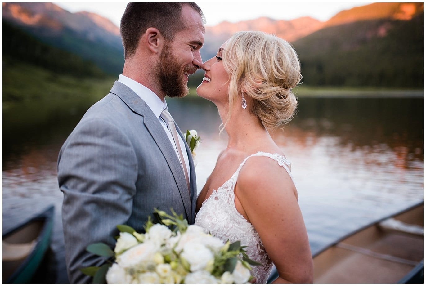 intimate sunset bride and groom portrait with alpenglow at Piney River Ranch wedding by Beaver Creek wedding photographer Jennie Crate, Photographer