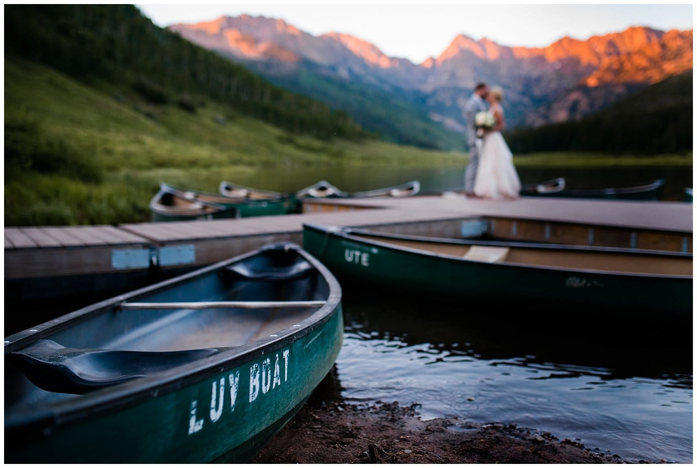 Luv Boat canoe sunset wedding photos at Piney River Ranch wedding by Vail wedding photographer Jennie Crate, Photographer