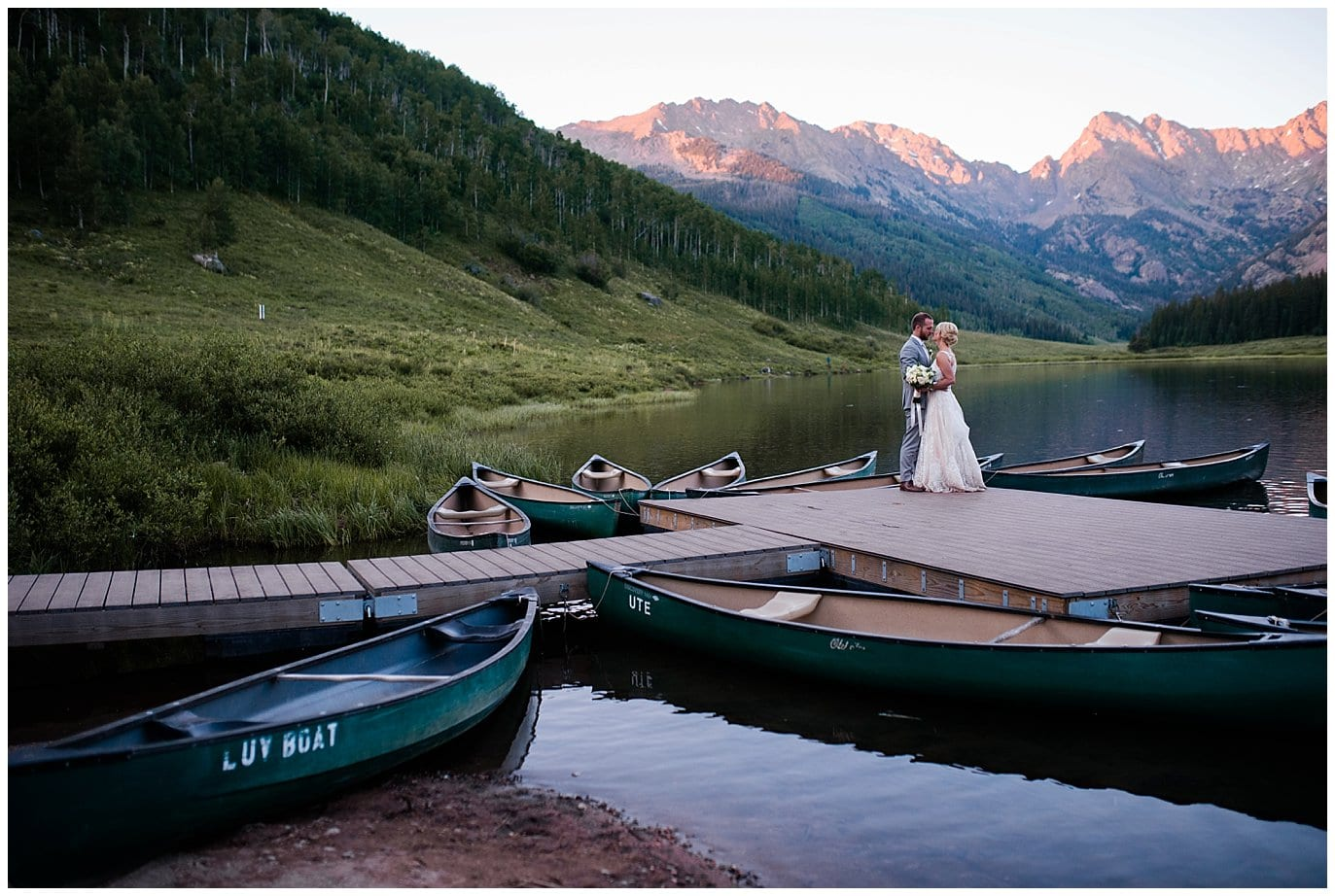 sunset photos on dock at Piney River Ranch wedding by Vail wedding photographer Jennie Crate, Photographer