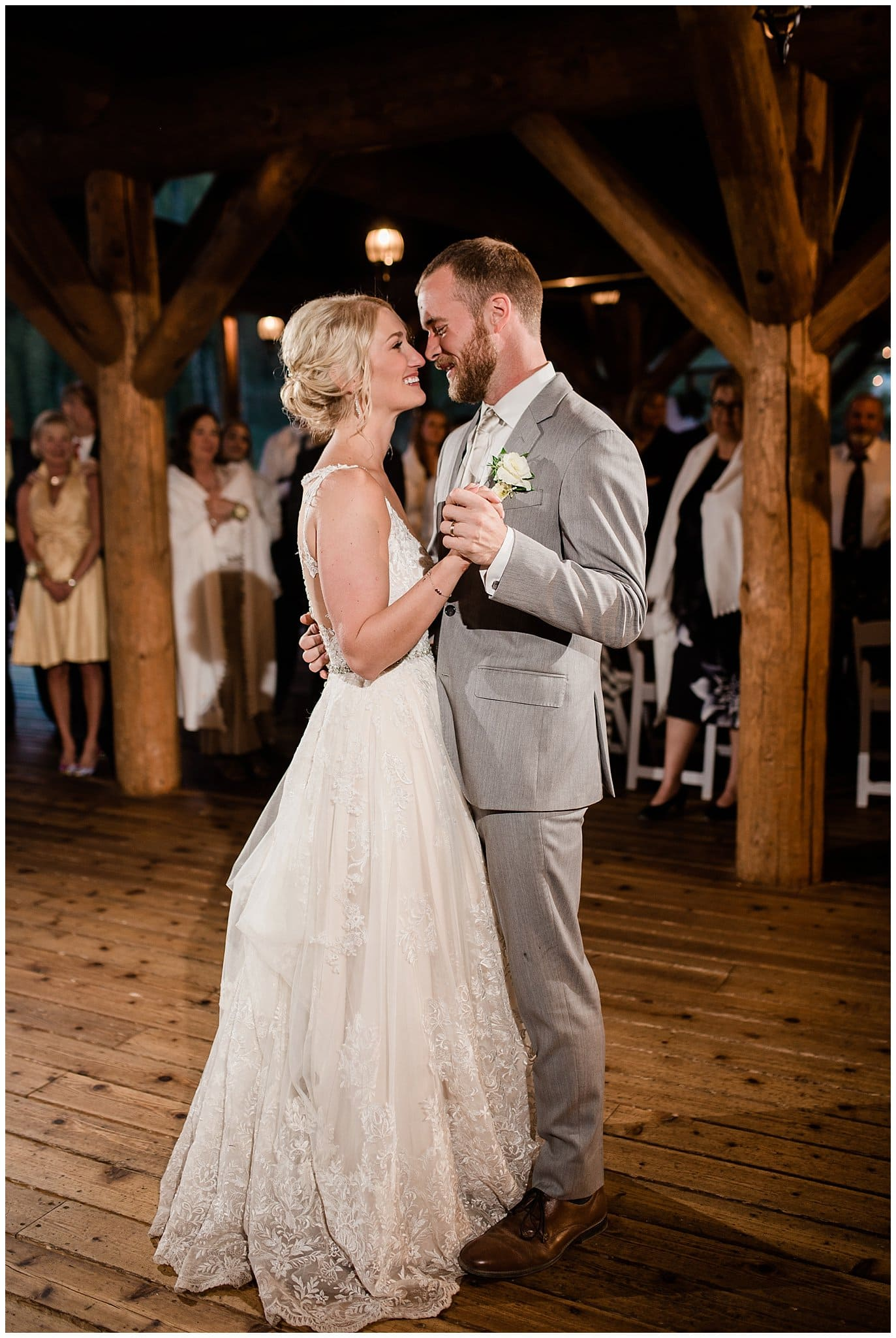 bride and groom first dance at Piney River Ranch wedding by Aspen wedding photographer Jennie Crate, Photographer