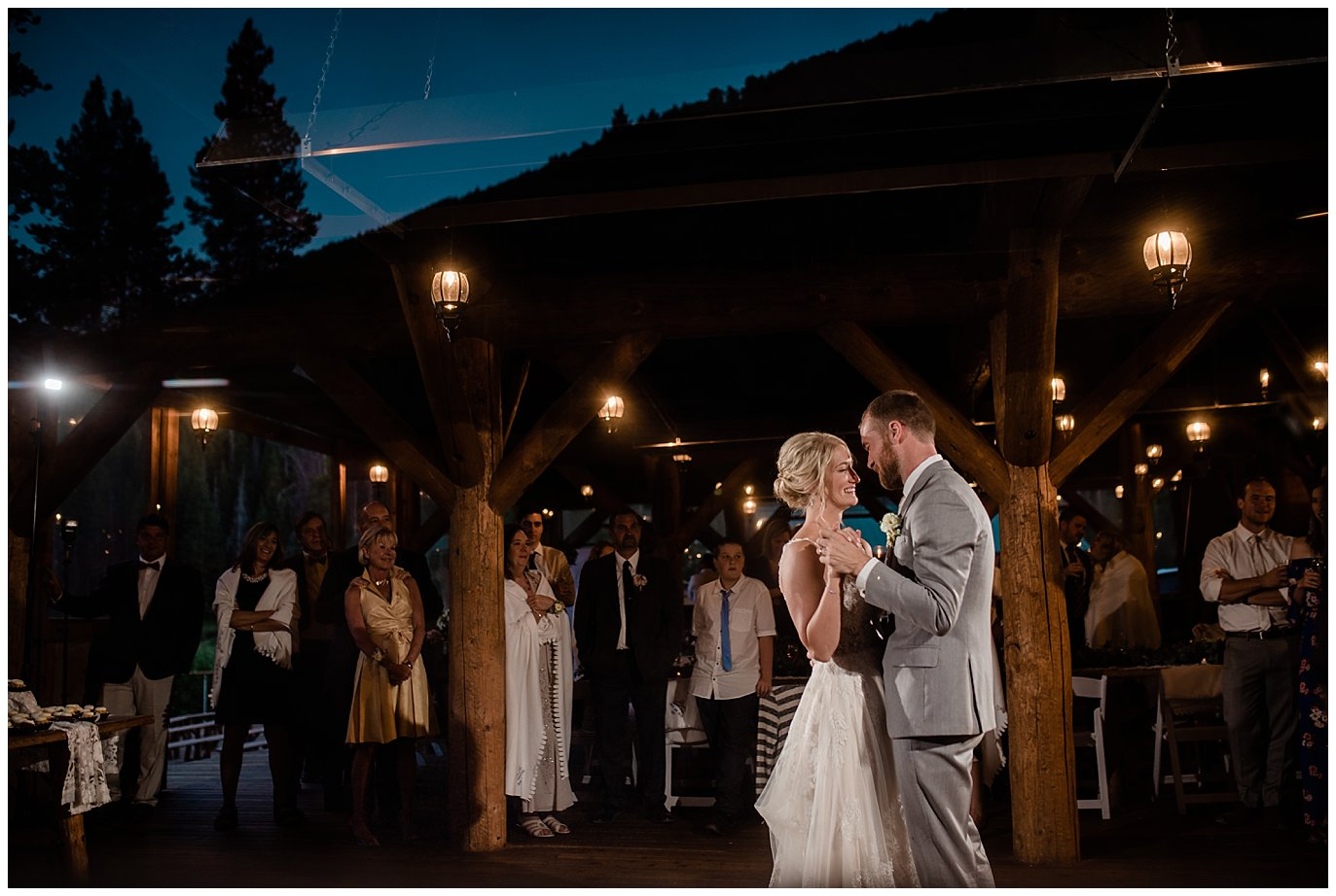 bride and groom first dance aat Piney River Ranch wedding by Aspen wedding photographer Jennie Crate, Photographer