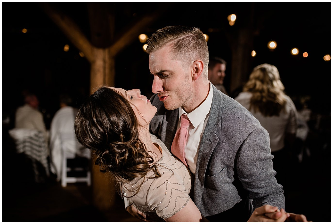 guests dancing during Colorado wedding reception at Piney River Ranch wedding by Aspen wedding photographer Jennie Crate, Photographer