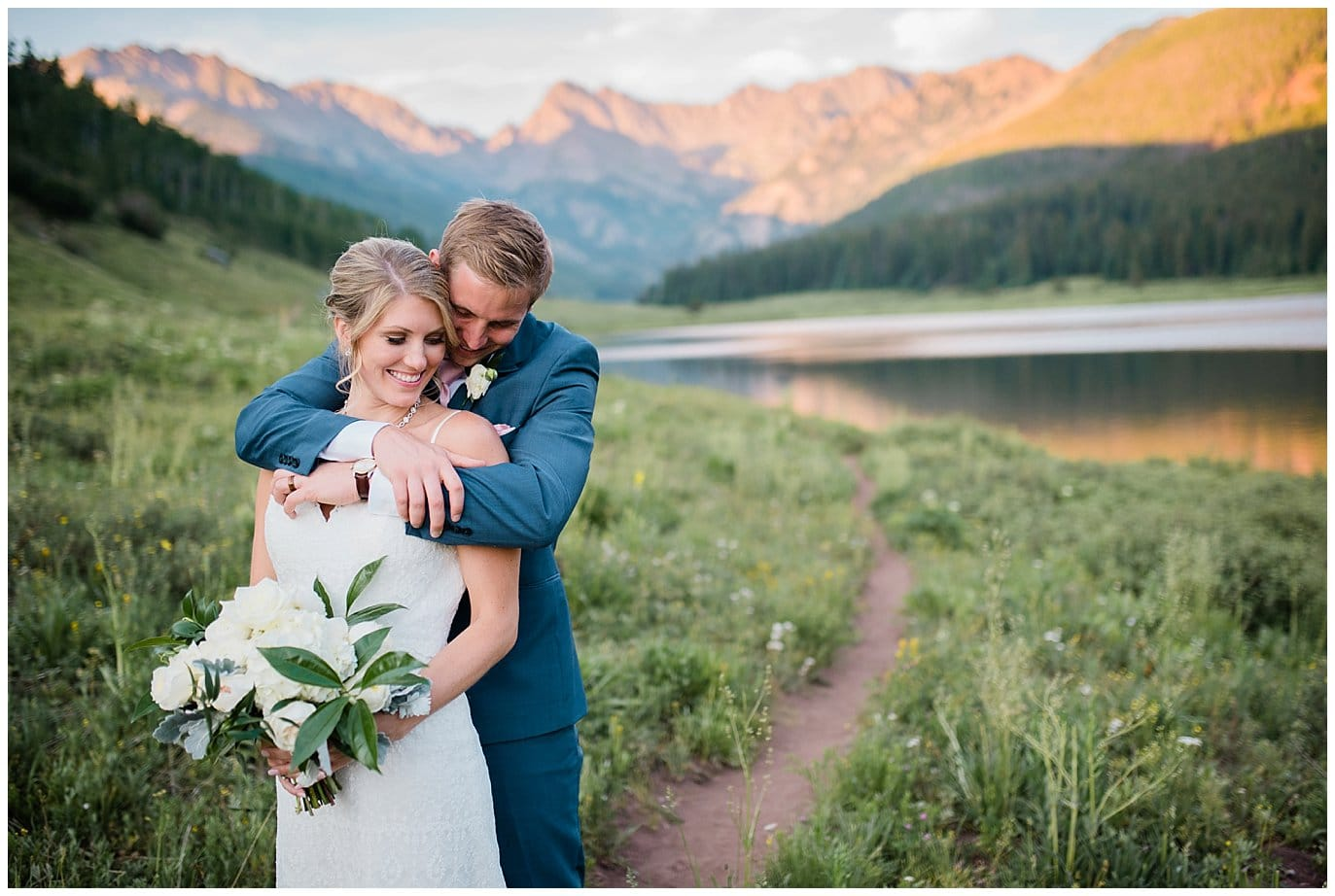 romantic sunset photos with alpenglow at piney river ranch photo