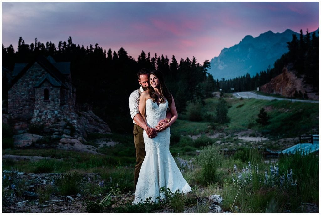 Sunset portraits in Estes Park Wild Basin Lodge Wedding photo