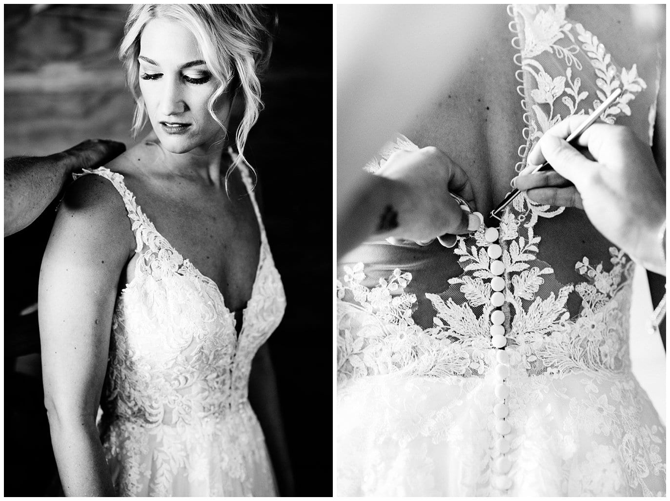 lace bridal dress buttoned with crochet hook at Elegant Piney River Ranch wedding by Piney River Ranch wedding photographer Jennie Crate, Photographer