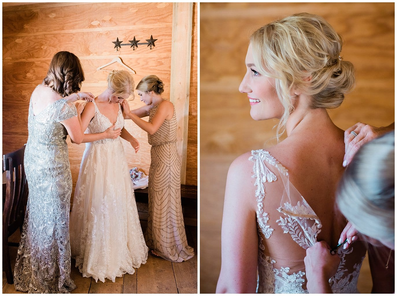 Bride getting dressed in Bride's Room at Summer Piney River Ranch wedding by Vail wedding photographer Jennie Crate, Photographer