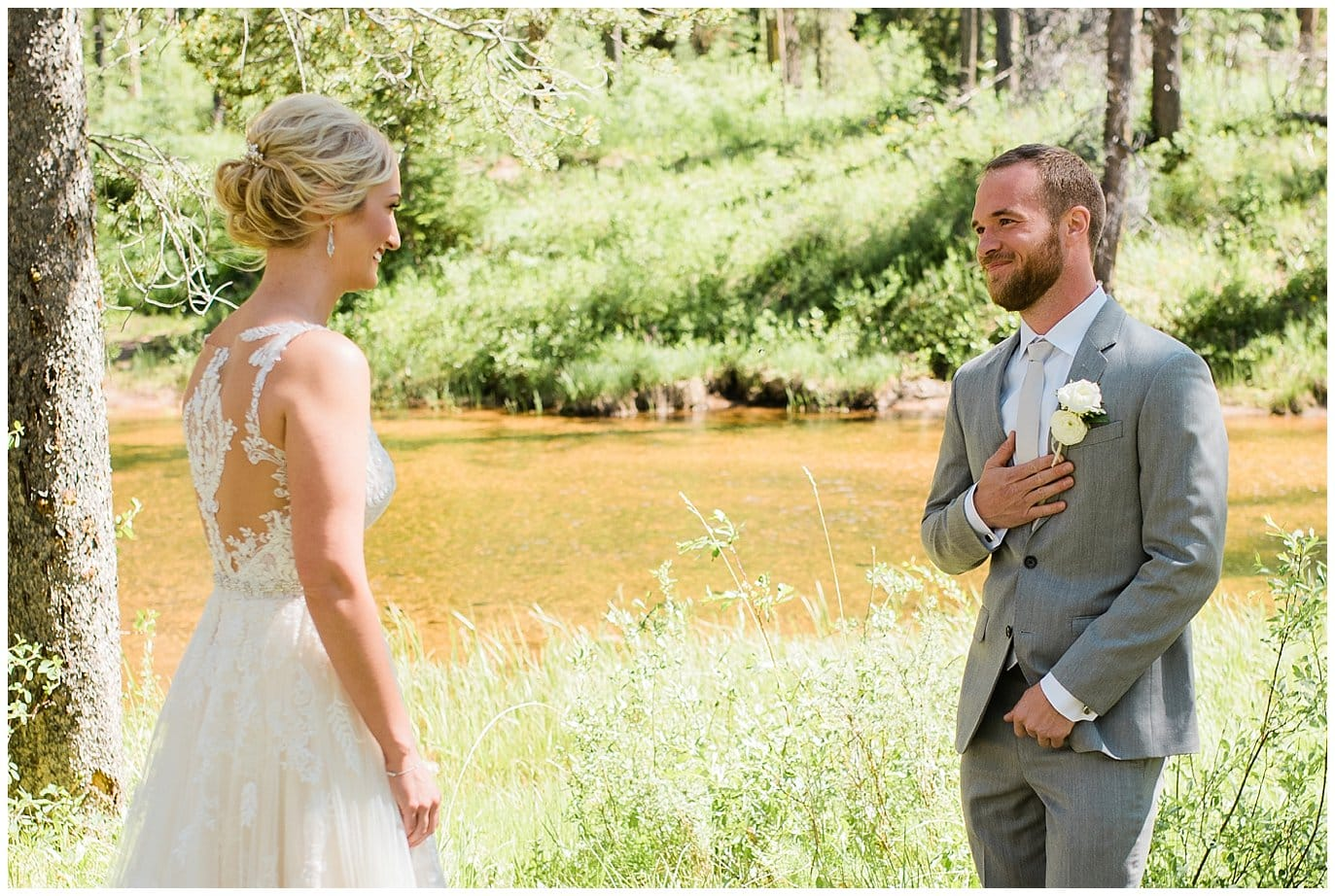 groom emotional at Elegant Piney River Ranch wedding by Piney River Ranch wedding photographer Jennie Crate, Photographer
