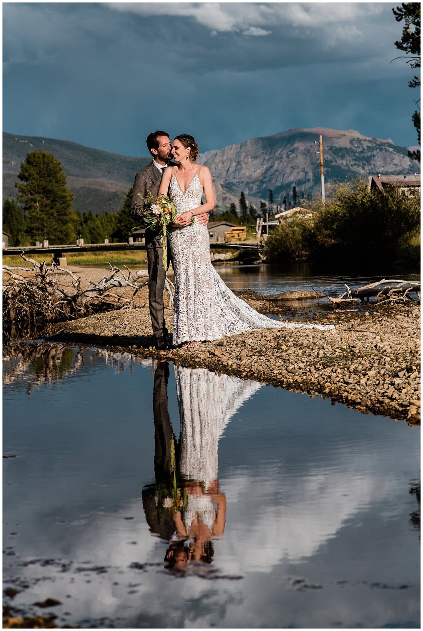 Winding River Ranch stormy bride and groom photo