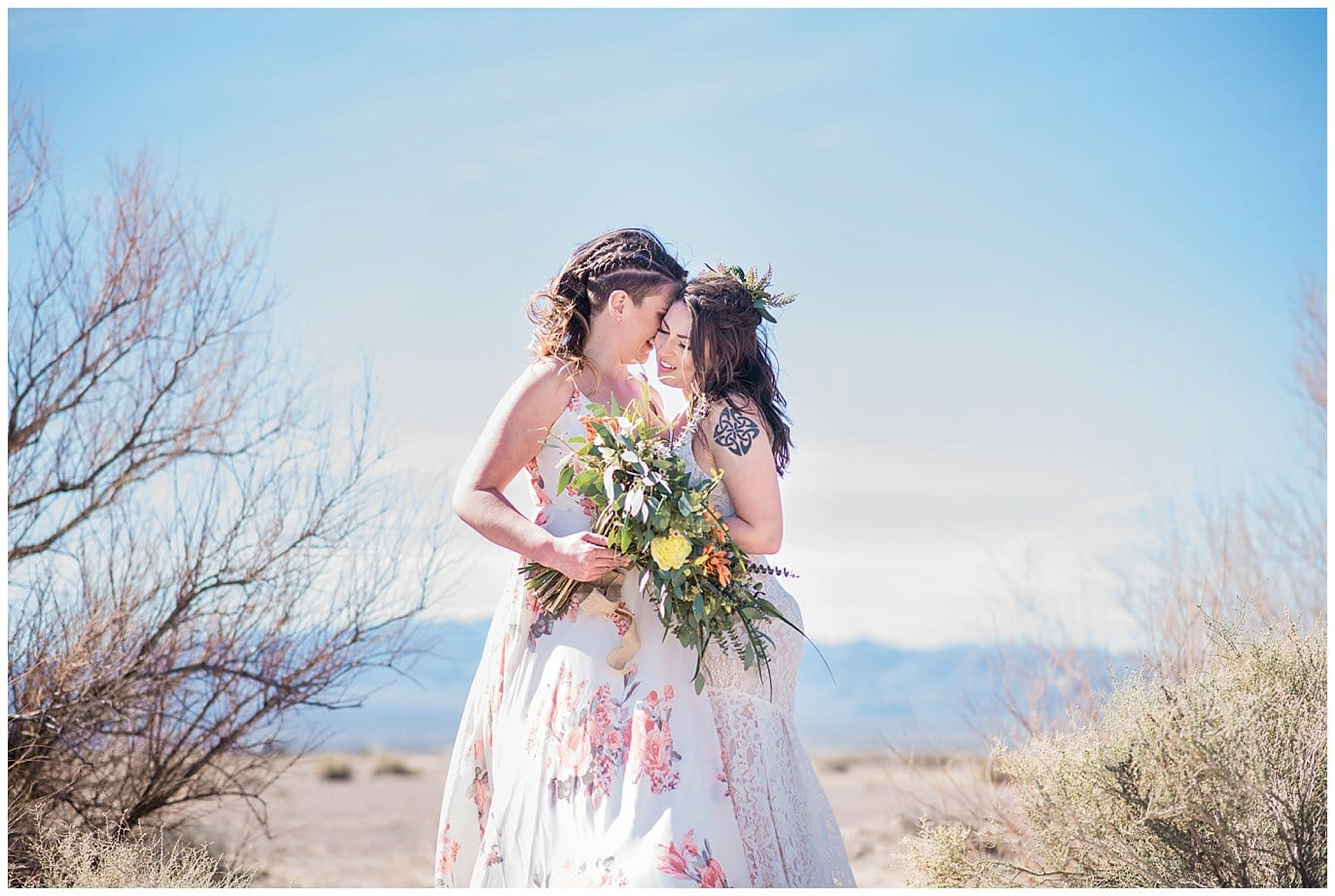 Intimate dry lake bed elopement photo