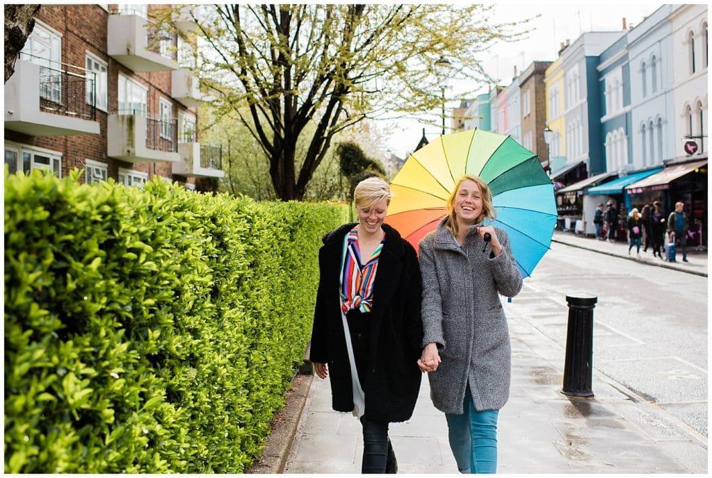 rainy London Engagement photo same-sex session in Notting Hill by London engagement photographer Jennie Crate