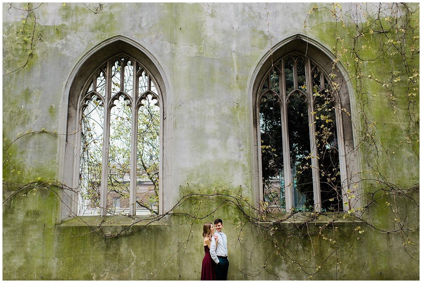St. Dunstan in the East Engagement Photo by destination wedding photographer Jennie Crate