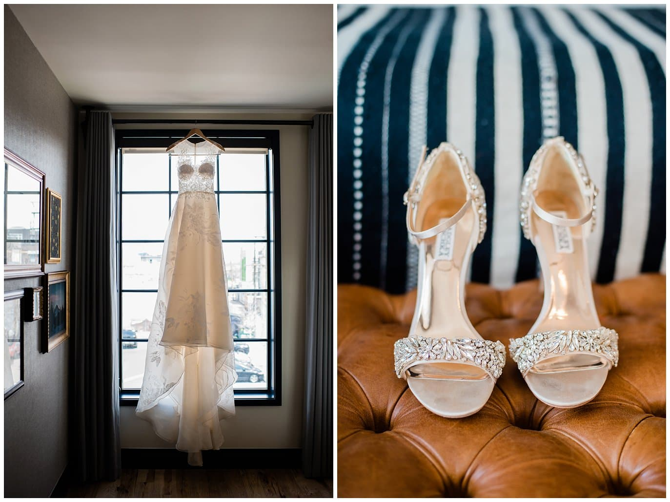 bride dress and shoes Ramble Hotel Denver photo by Blanc Wedding Photographer, Jennie Crate