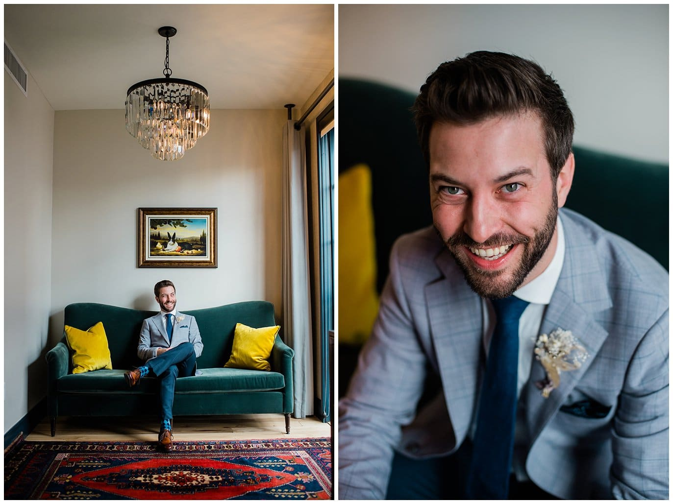 groom at Ramble hotel by Blanc Wedding Photographer Jennie Crate