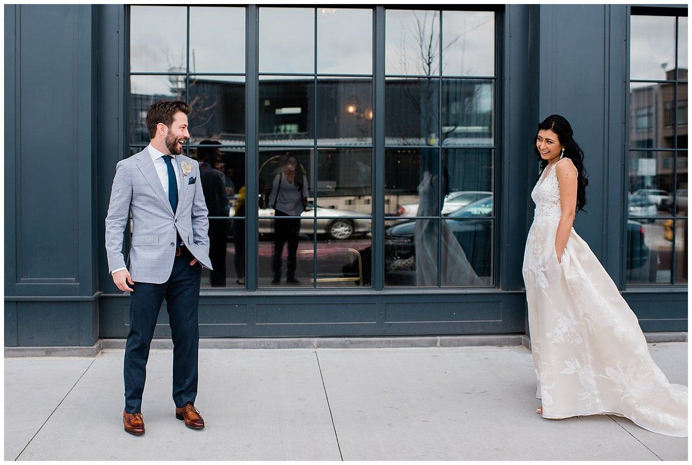 first look Ramble Hotel photo by Blanc Wedding Photographer Jennie Crate