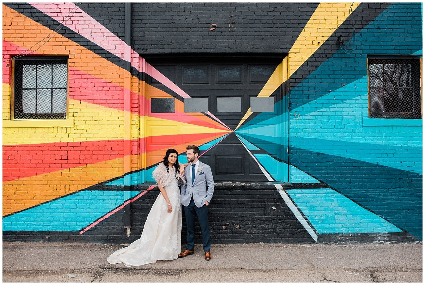 couple in front of graffiti for blanc Denver wedding by denver wedding photographer Jennie Crate