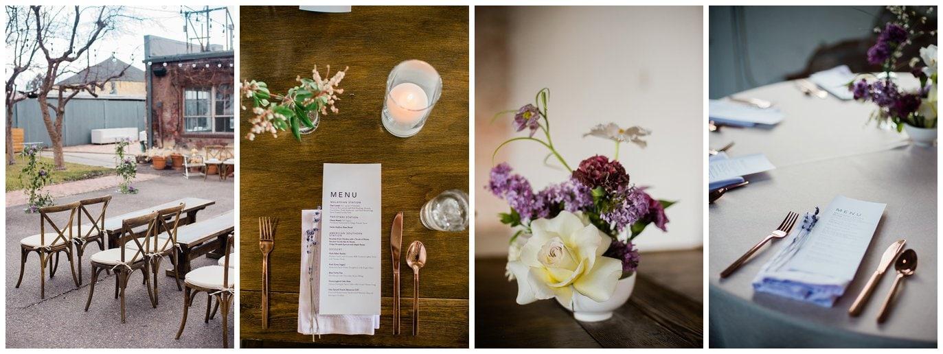 simple spring wedding decor at blanc Denver wedding by Blanc Wedding Photographer Jennie Crate