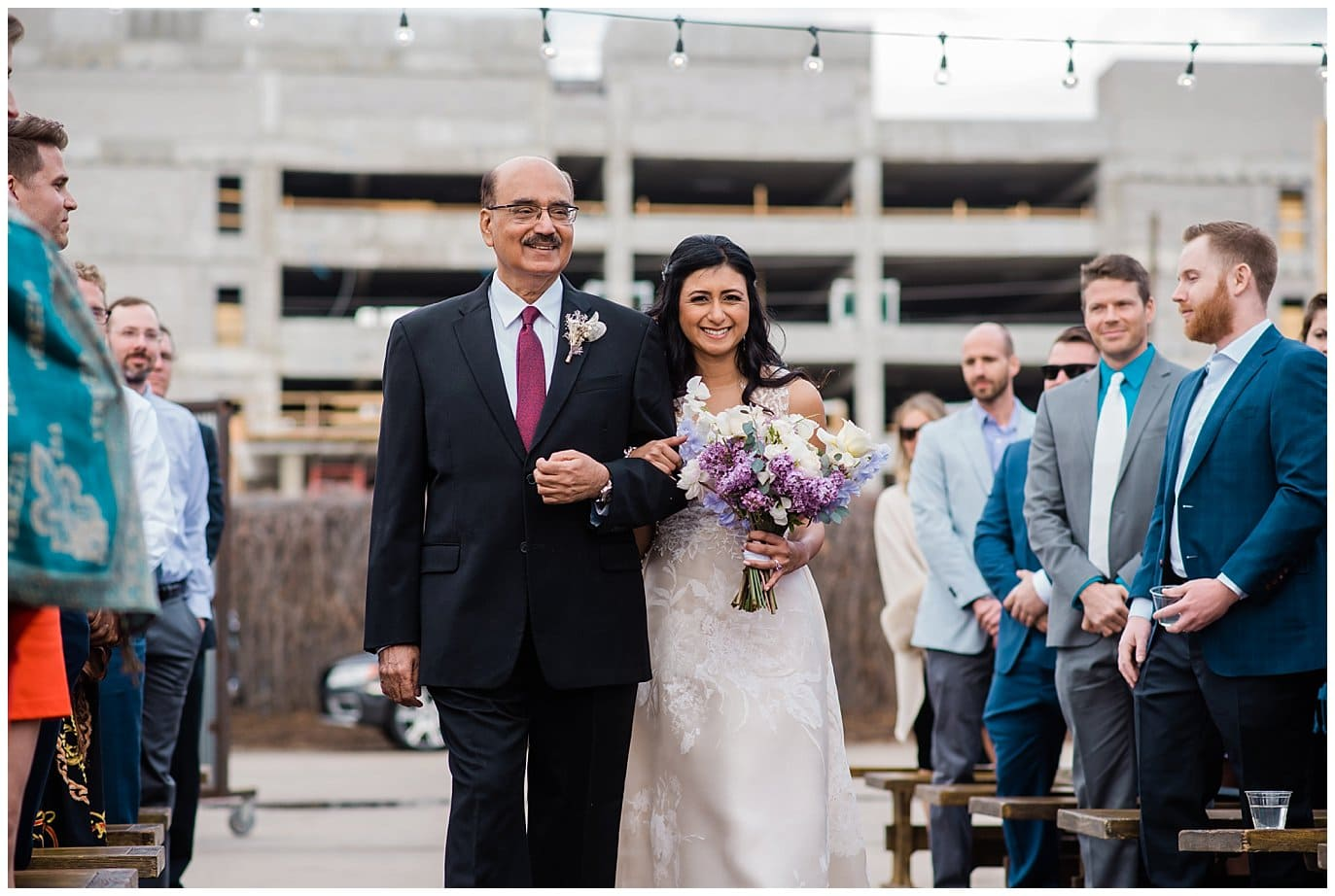 bride's dad walks bride down aisle at Blanc Wedding by Denver Wedding Photographer Jennie Crate